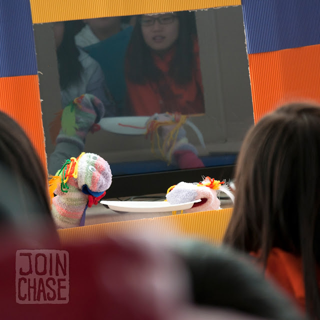 Students performing a puppet show during Winter English Camp at Bibong Elementary in Ochang, South Korea.