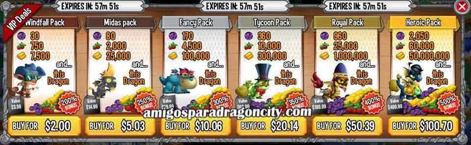 imagen de las ofertas vip de dragon city ios y dragon city android