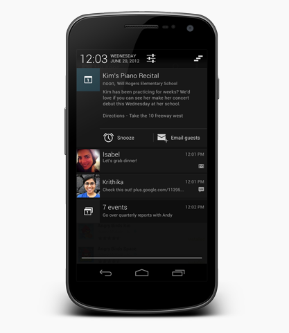 Notificaciones en Jelly Bean, Jelly Bean, Android 4.1