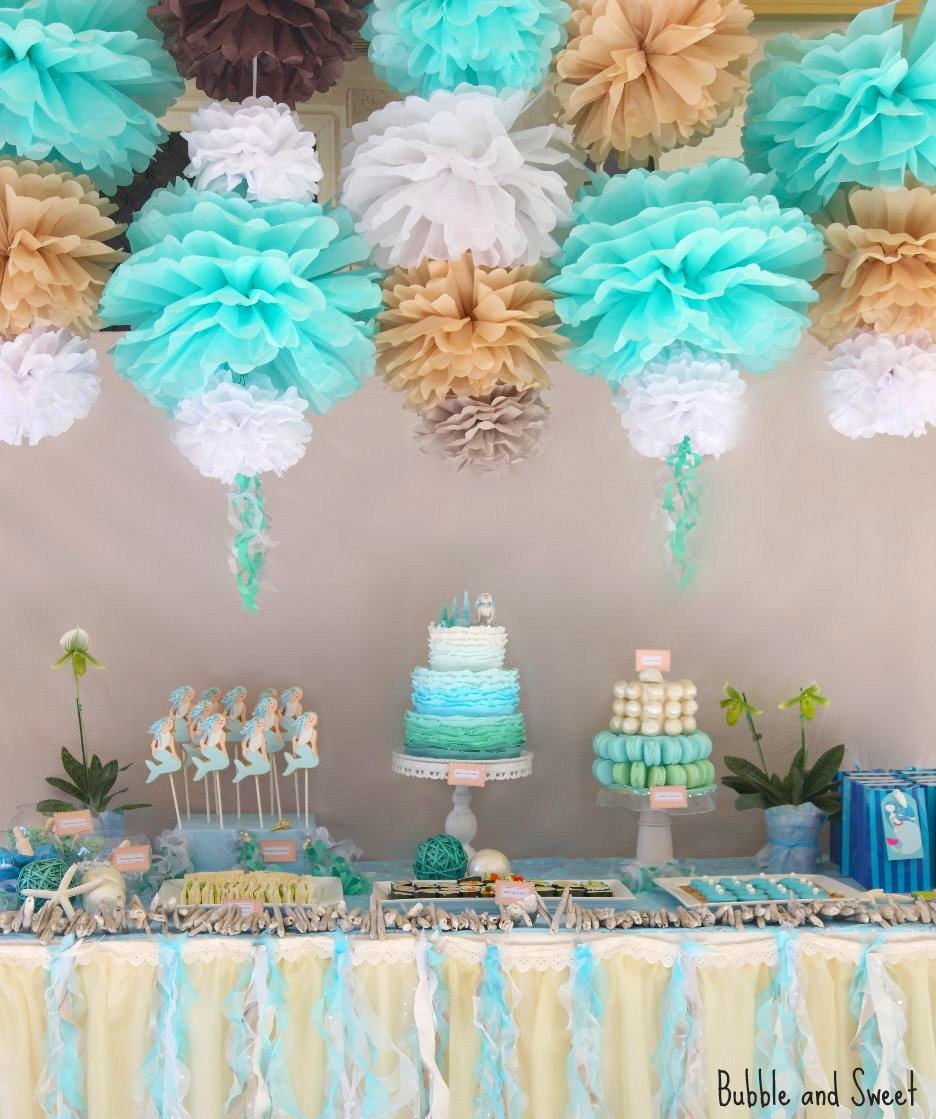 Bubble and sweet lilli 39 s 7th birthday party mermaid party for Ariel birthday party decoration ideas