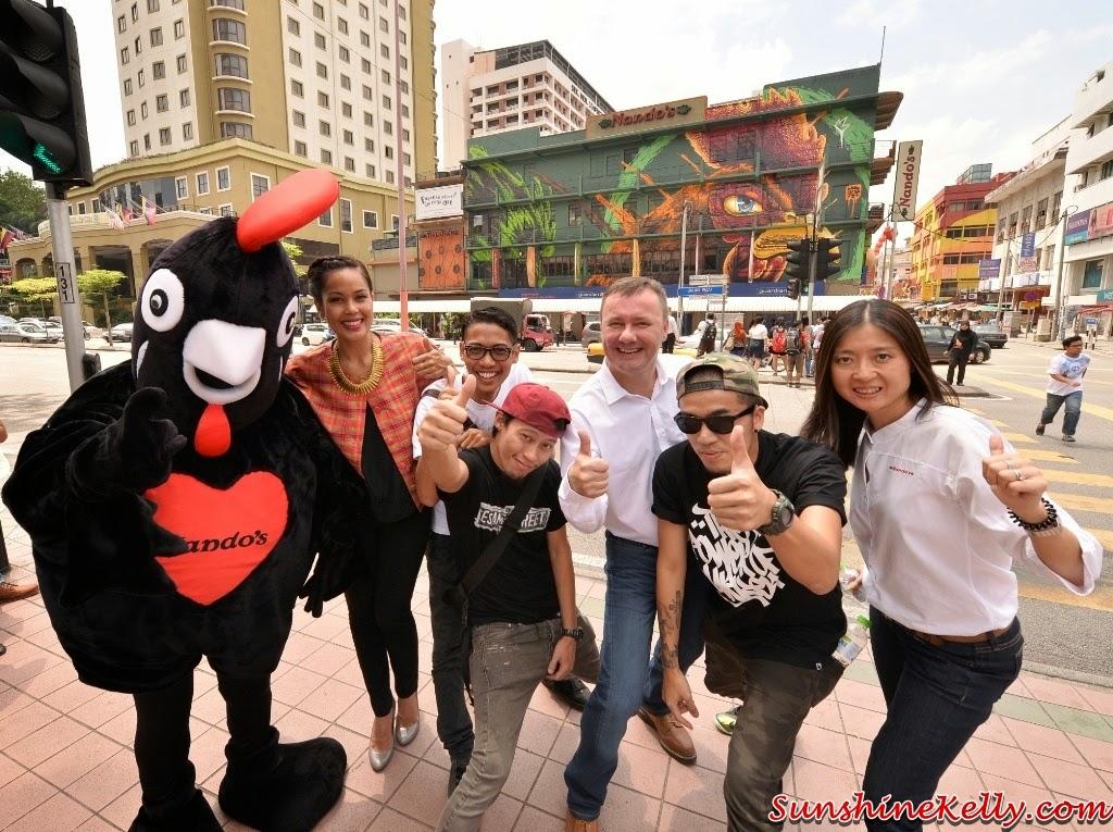 Nando's Art Initiative 2014, Alive, Nando's Chinatown Outlet Graffitti Mural art, Baci the mascot, Marini Ramlan, Ali Bebit, Bee from Phobia,  Ian Cruddas, Kenji Chai and Mac Chung Lynn
