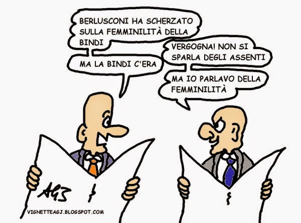 Berlusconi, Bindi, giuramento vignetta satira