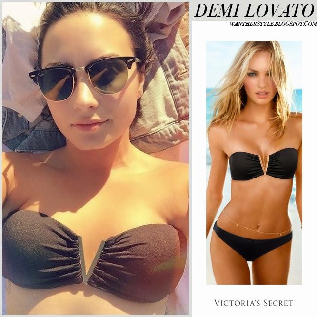Demi Lovato in black bandeau bikini top Victorias Secret and ray ban clubmaster sunglasses april 16 2015 beach summer style