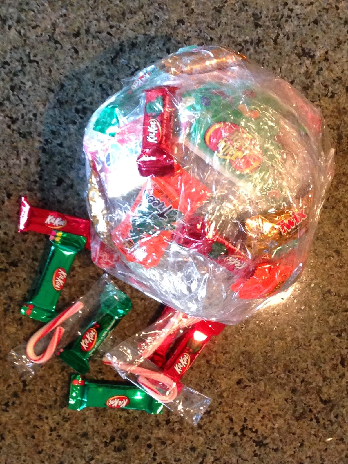 christmas taped candy treat ball - Redneck Christmas Ideas