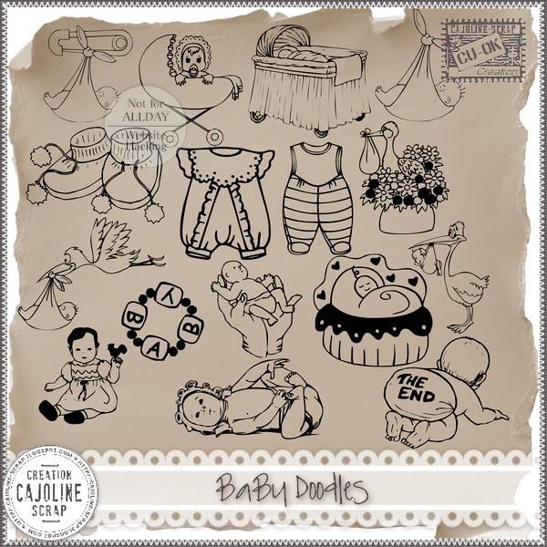 """Free scrapbook """"Baby Doodles CU"""" from Cajoline scrap"""