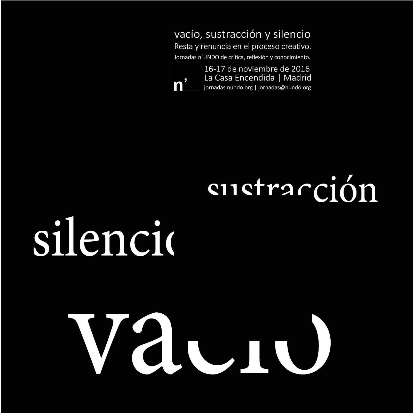 """JORNADAS """"VACIO, SUSTRACCIÓN Y SILENCIO"""""""