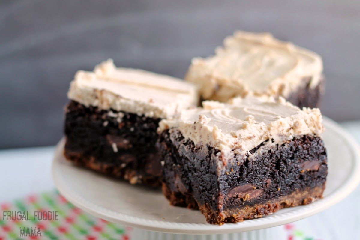 Biscoff Gingersnap Brownies- fudgy brownies with a chewy gingersnap crust are frosted with a creamy Biscoff buttercream