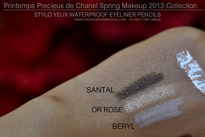 Printemps Precieux de Chanel Spring 2013 Makeup Collection Indian Beauty Blog Darker Skin Swatches Stylo Yeux Waterproof Eyeliner Santal Or Rose Beryl