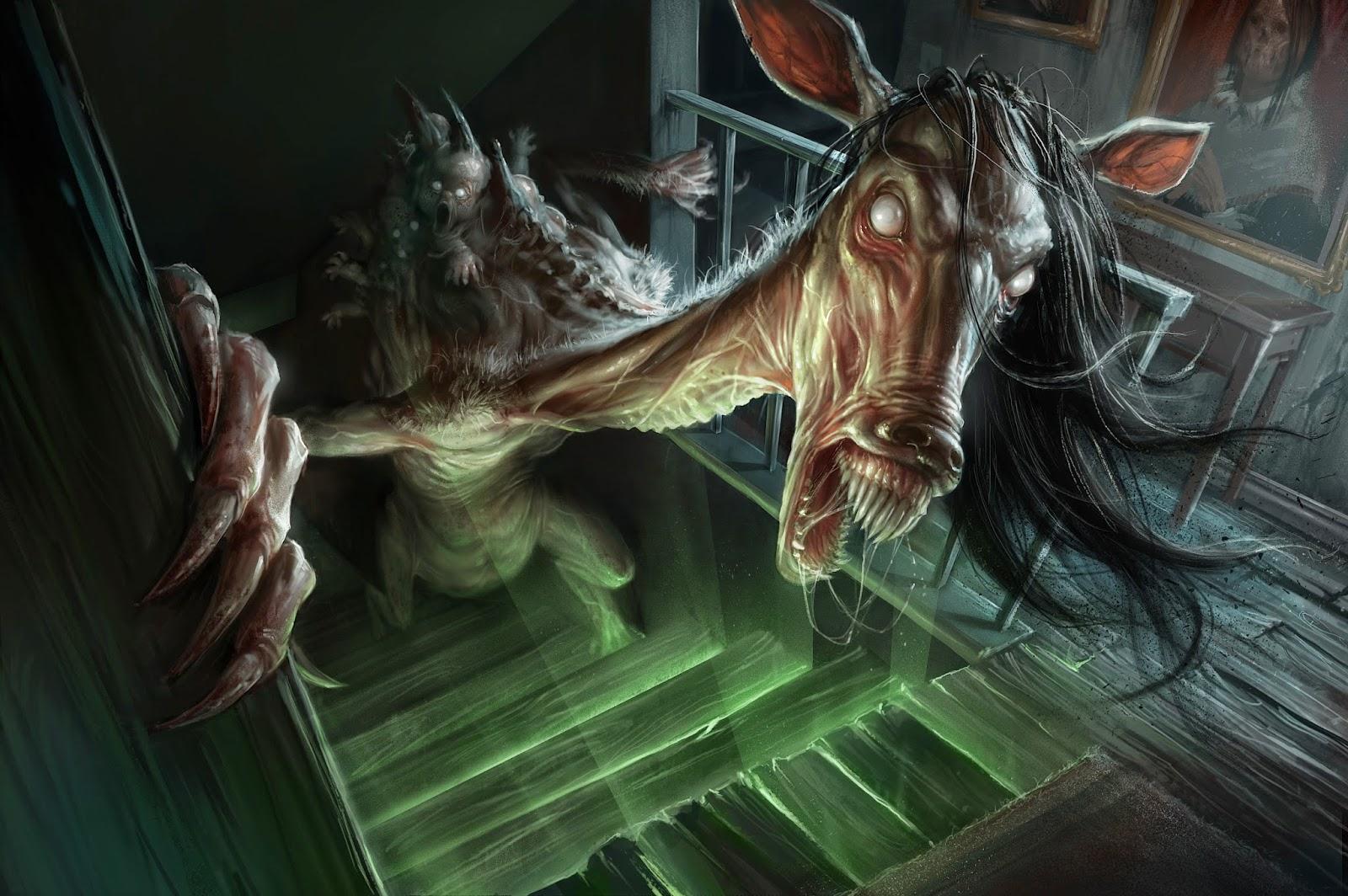 illustration de David Sladek representant un monstre à tete de cheval dans un escalier