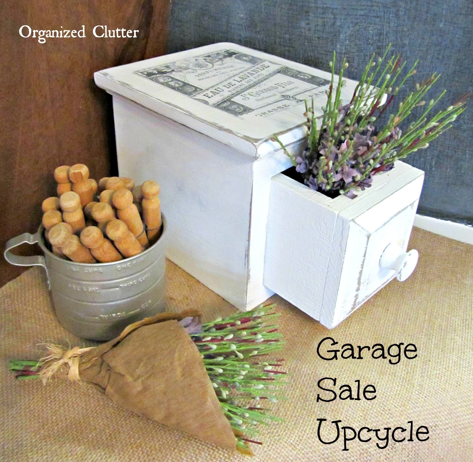 Upcycled Garage Sale Potpourri Drawer www.organizedclutterqueen.blogspot.com