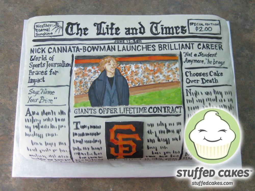 Newspaper Design Cake : Stuffed Cakes: Newspaper Graduation Cake