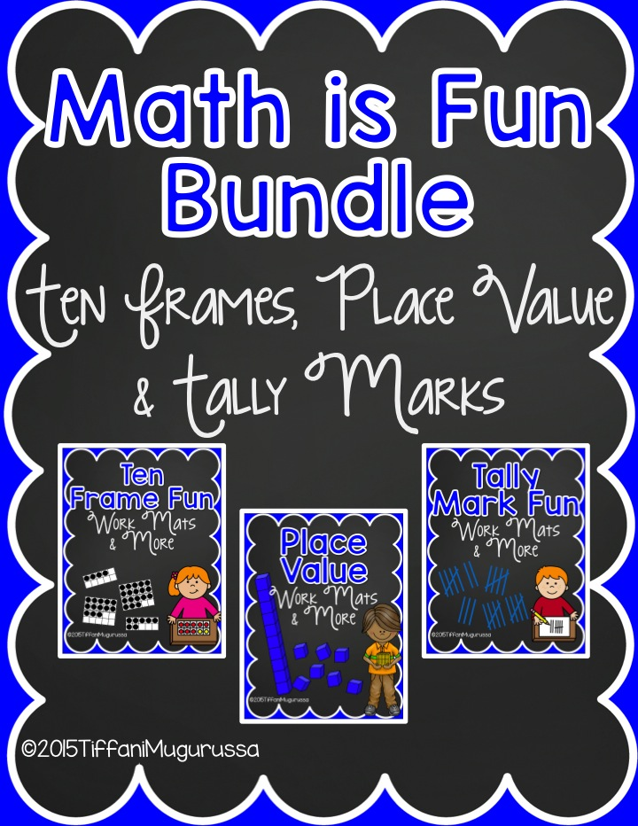 common core math in kindergarten, place value, tally marks, ten frames