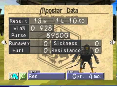 Monster Rancher 2 monster data screenshot
