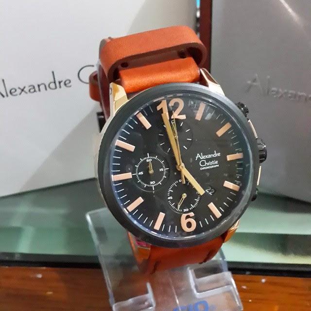 jam tangan alexandre christie 6267 coklat gold