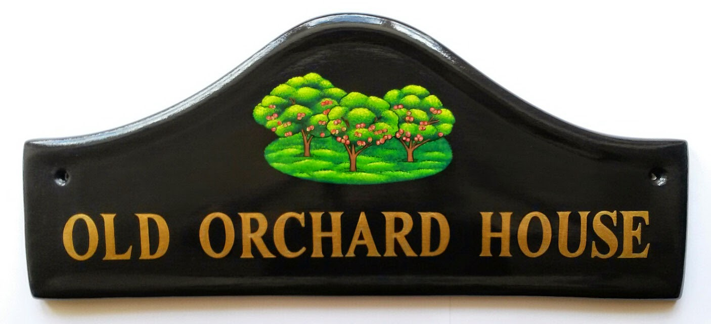 Hand painted house signs by ceramic art traditional house signs large arch house sign 195 x 825 ins with apple orchard see more of our hand painted house signs and house number signs handpaintedhousesigns dailygadgetfo Images