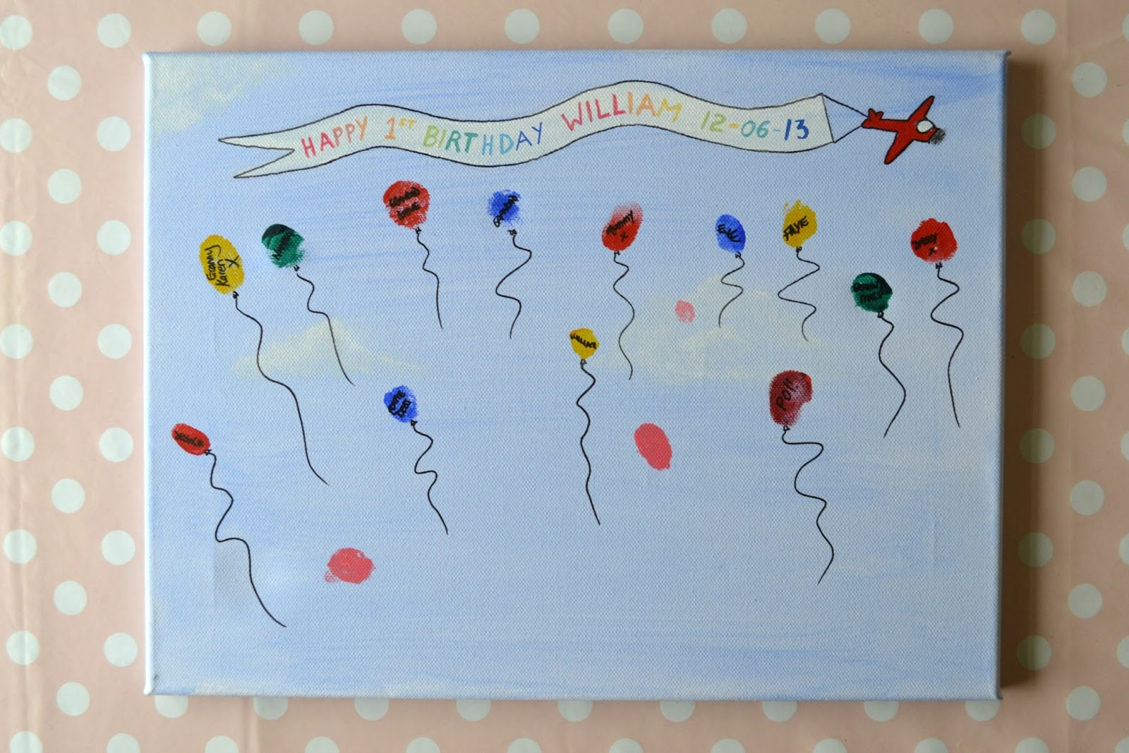 William 39 S First Birthday Diy Memory Canvas Write Like