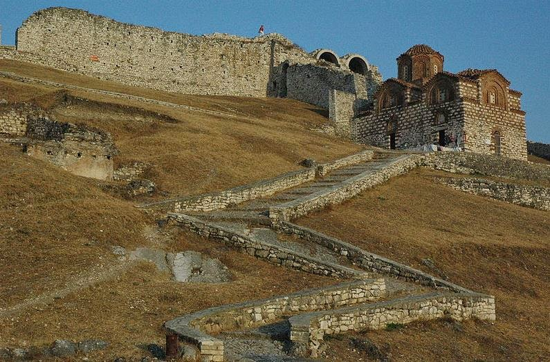The entrance of the citadel of Berat, with the 13th-century Byzantine church of the Holy Trinity
