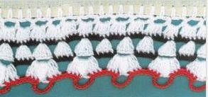 Puntilla borde blanco rojo verde