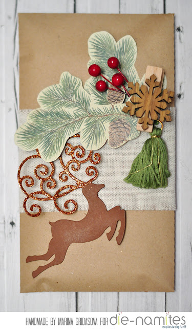Deer envelope | Die-Namites DT @akonitt #envelope #by_marina_gridasova