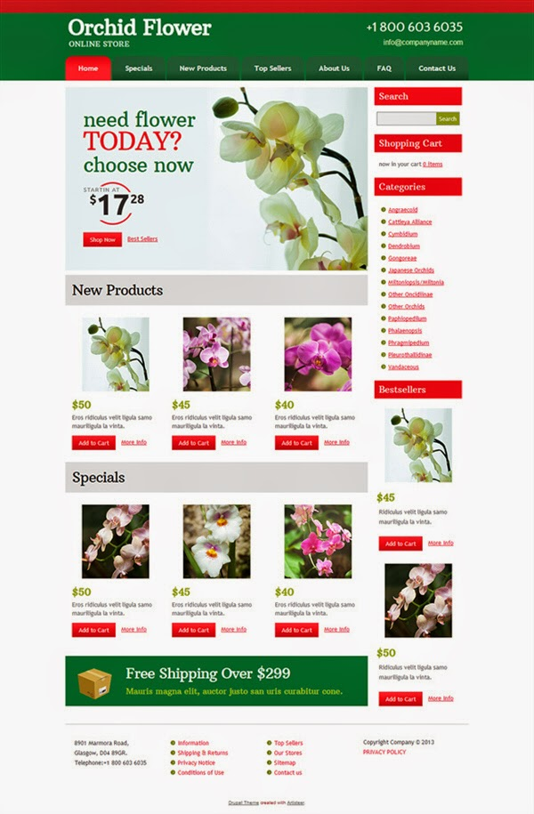 Orchid Flower - Free Drupal Theme