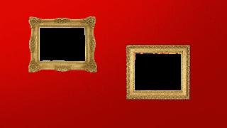 2 molduras fotos em fundo vermelho Z png
