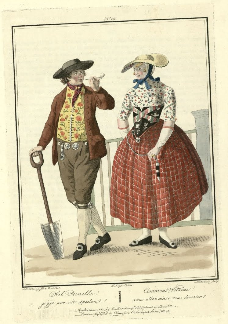 man with spade standing next to woman (early 1800s)