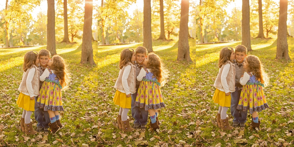St. Joseph Michigan Fall Family Session with ©Night Owl Photography www.nightowlsphotography.com  sisters kissing brother on cheeck