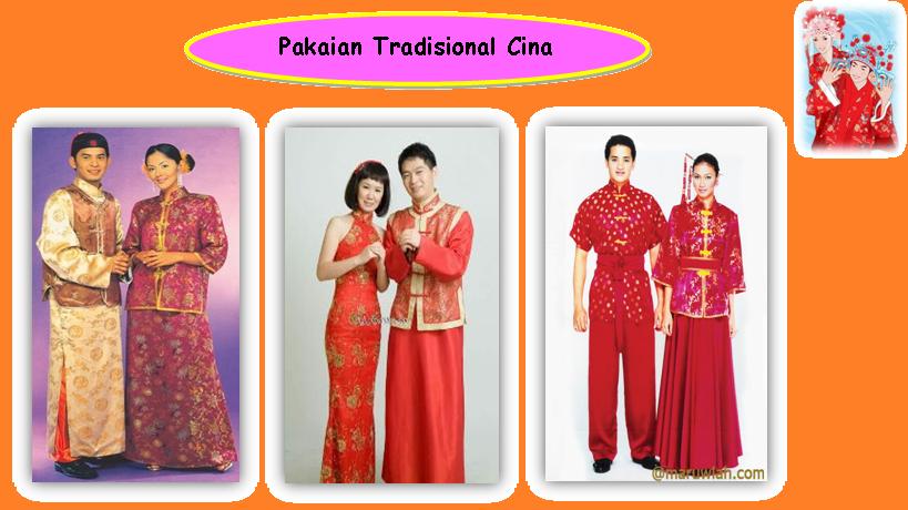 baju kebaya Melayu, sari India dan cheongsam Cina masih digunakan