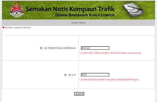 Cara semak saman trafik DBKL secara online
