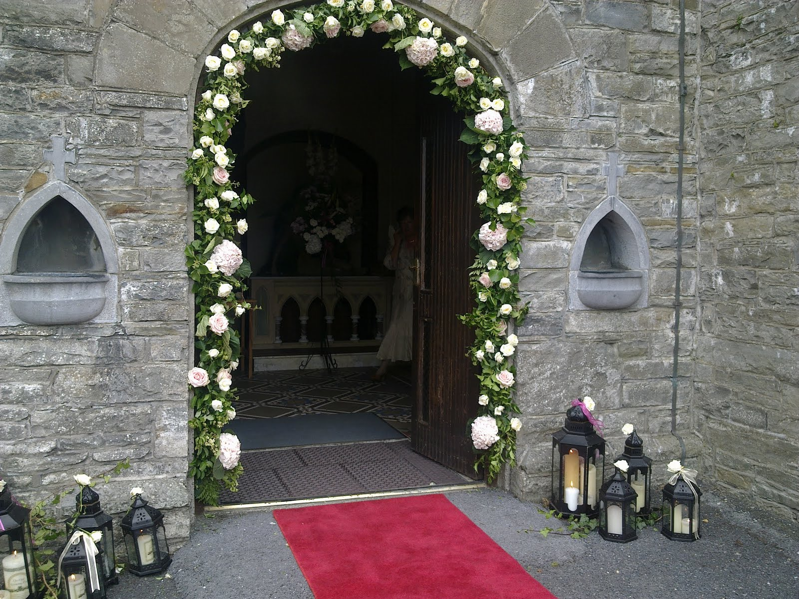 Macs flowers the wedding flower specialist county clare floral arch and lanterns outside the church junglespirit Images