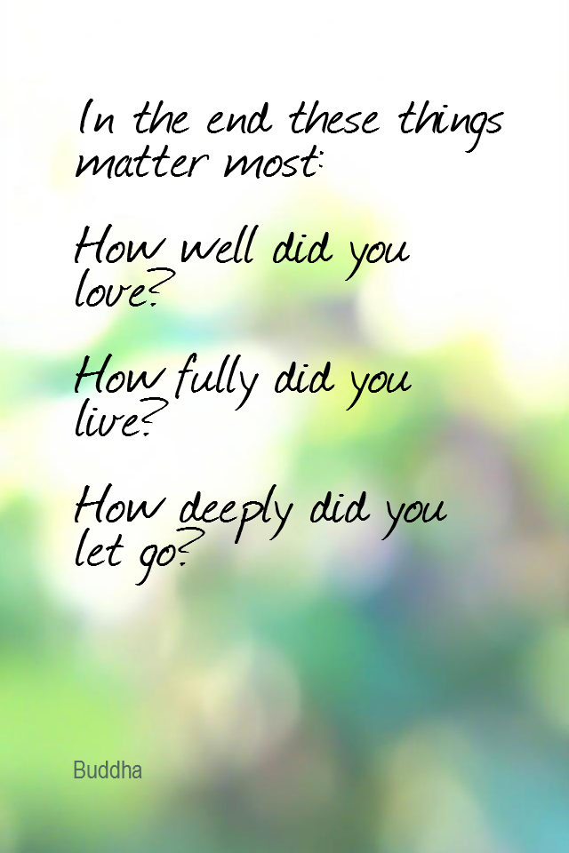 visual quote - image quotation for LIFE - In the end these things matter most: How well did you love? How fully did you live? How deeply did you let go? - Buddha