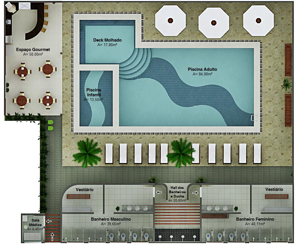 Projeto de Exteriores e Interiores Área de Lazer (Clube) #663C2A 1039 855