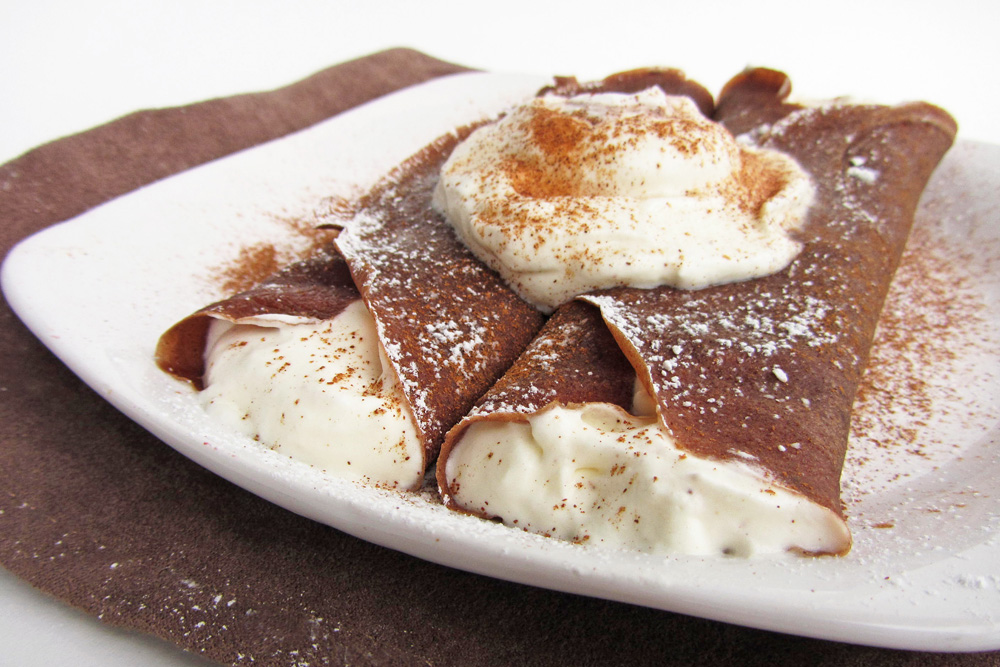 gingerbread crepes with eggnog whipped cream