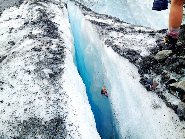 Playing in the ice crevasses, Fox Glacier