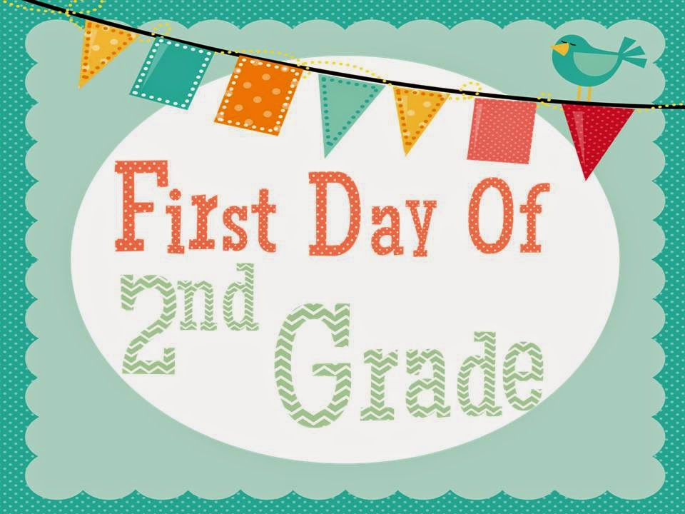 Clean image within first day of 2nd grade printable sign