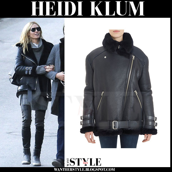 Heidi Klum in black leather shearling Acne jacket what she wore winter fashion