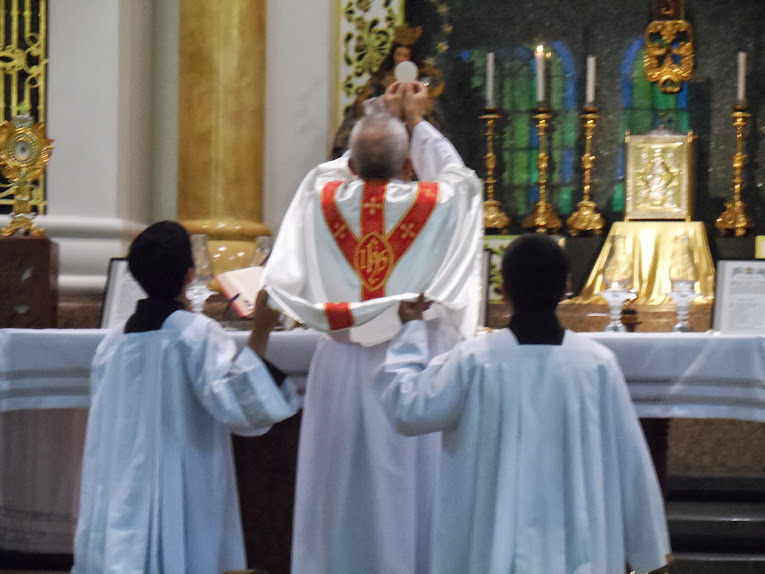 Priest elevates host while servers hold chasuble