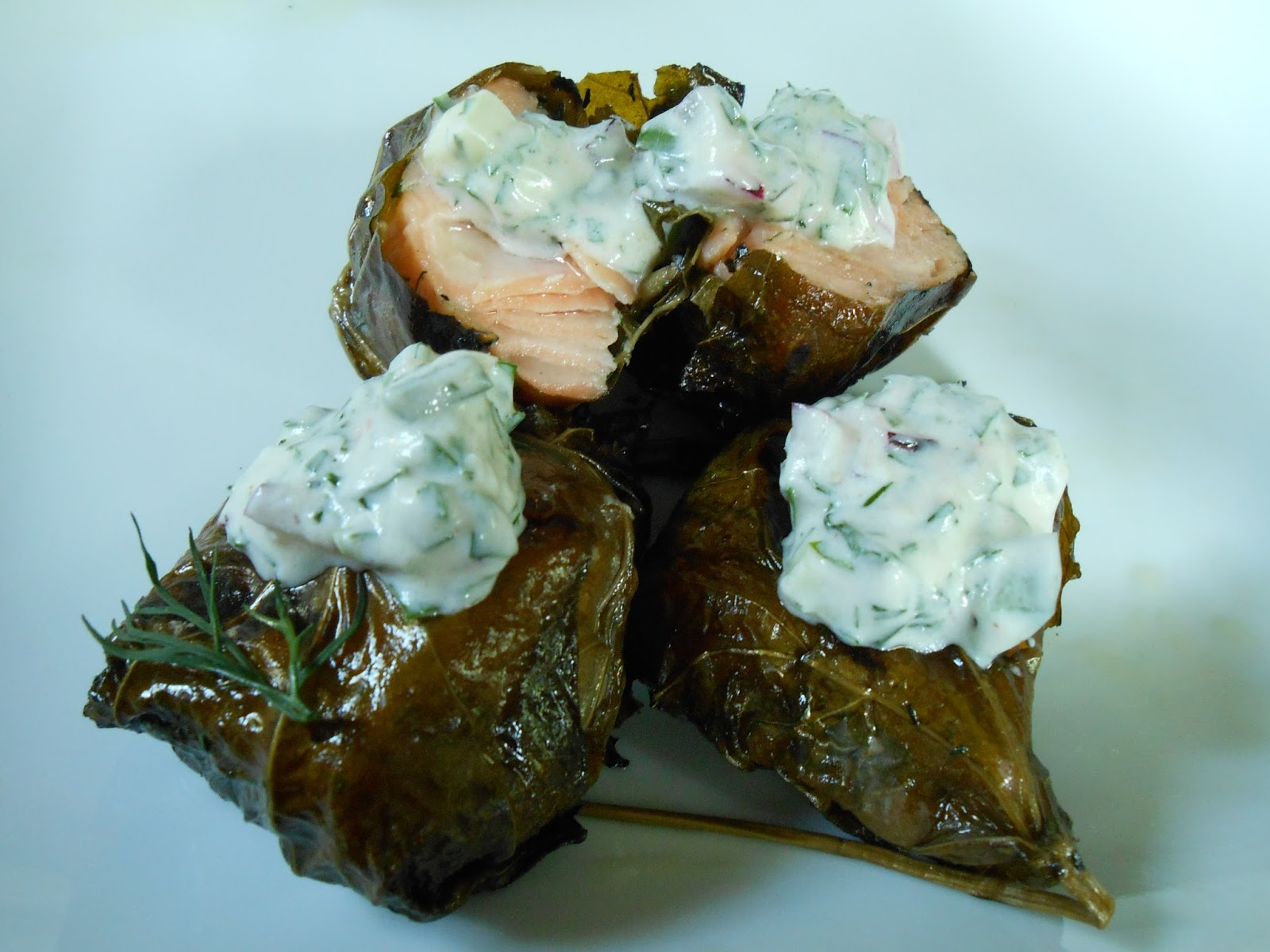 Bake and Baste: Grilled Salmon Dolmas with Herbed Tzatziki