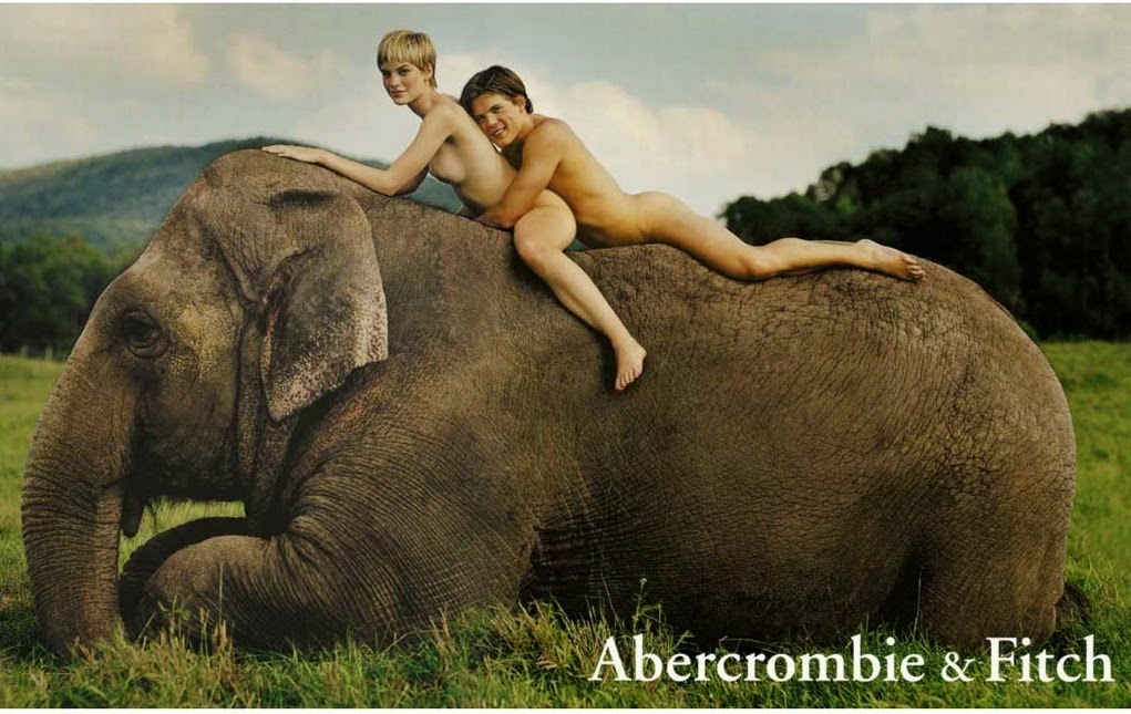 elephant and nude girl