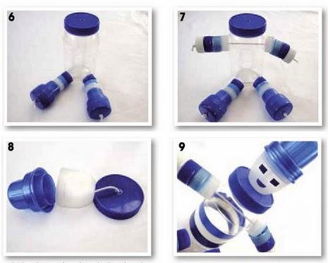 passo a passo de boneco feito com pote plástico e tampinhas