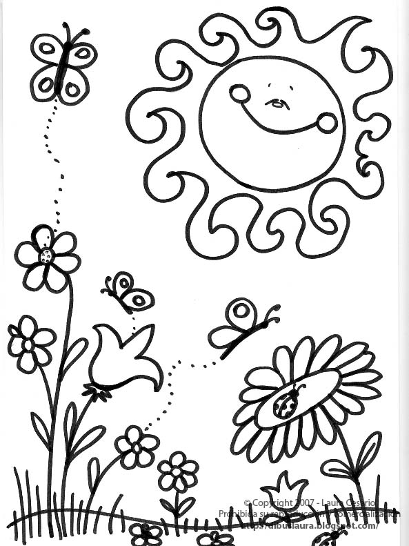 dibujo primavera para colorear: