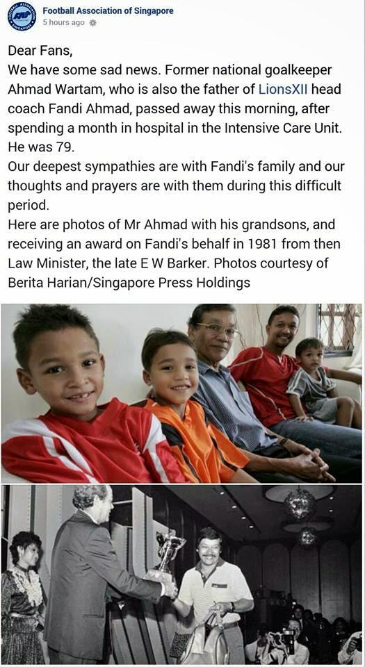 Bapa Fandi Ahmad Meninggal Dunia