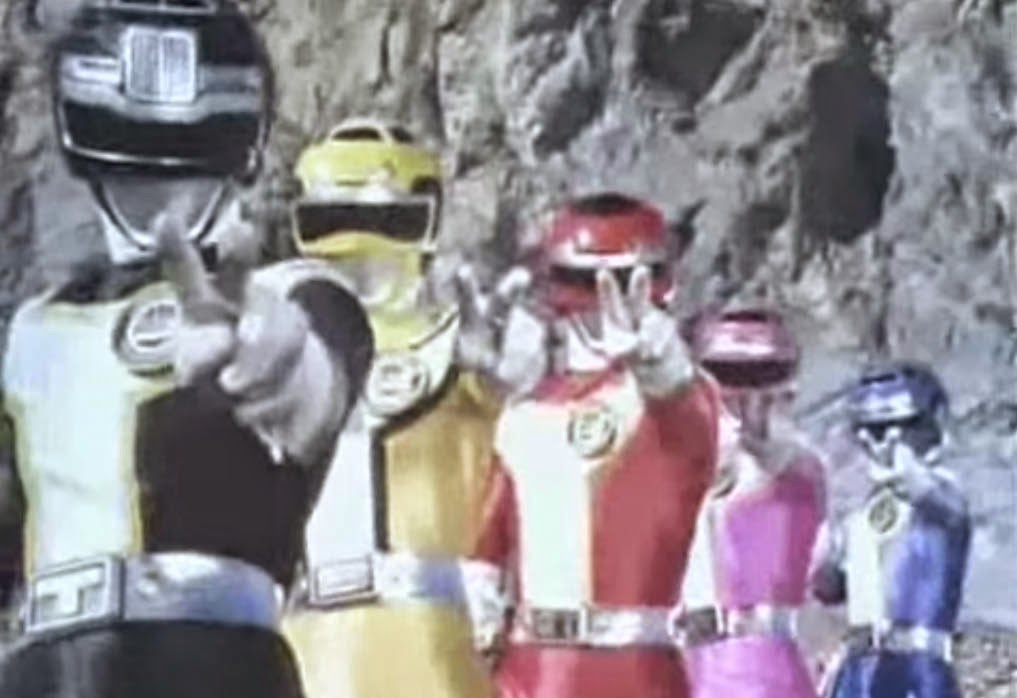 Retro Super Sentai Turboranger After Finisher Pose Peace Sign