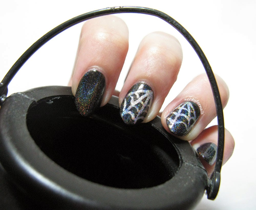 Holo-ween Halloween Spider Web Manicure CbL Black Gold, Texas Tea