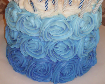 Blue Ombre Rose Cake 2