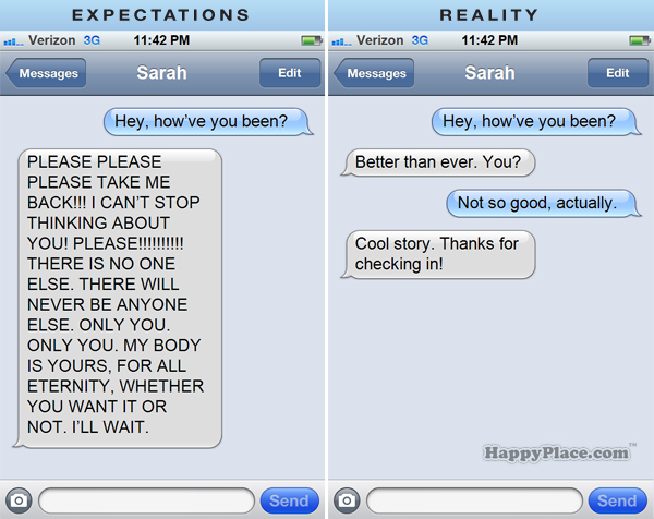 Texting your ex wife zone