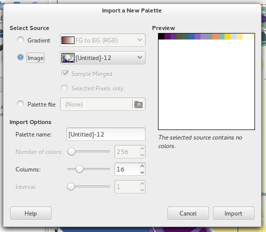 Importing a Palette from a 16 colors indexed image.
