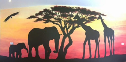 Joanna perry top mural artist hand painting murals for African sunset wall mural