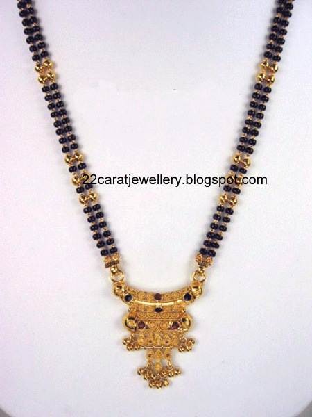 22 Carat Gold Black Beads(nallapusalu) Long Chain Designs 2 ...
