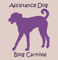 This photo is a logo for the Assistance Dog Blog Carnival. There is a light purple background with the darker purple siloquette of a dog facing to the left. The words Assistance Dog are above the dog, and Blog Carnival are below it.